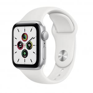Apple Watch SE GPS 40mm Silver Aluminum Case with White Sport Band (MYDM2)